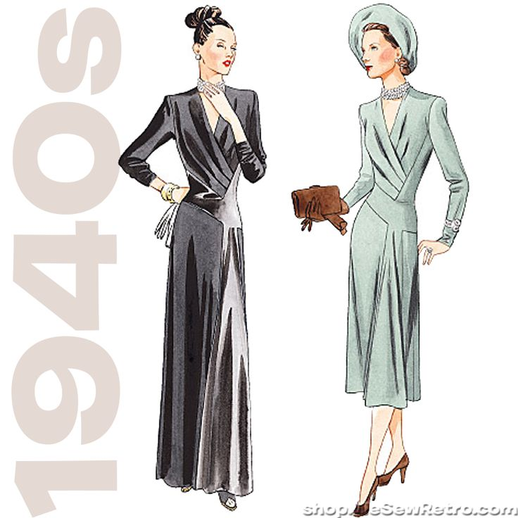 Out of print paper sewing pattern to make a 1940s dress, below mid-calf or evening length, has shoulder pads, loose-fitting, shaped bodice with front tucks, front inset, A-line or slightly flared skir
