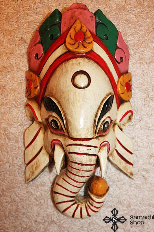 Ganesha Wooden Mask Wall Hanging (white)