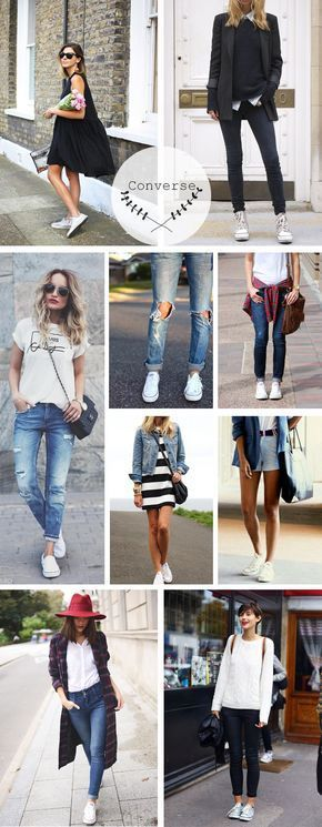 New sport chic outfit converse ideas Sneakers Fashion Outfits, Outfits With Converse, Chic Outfits, Fall Outfits, Converse Style, Converse Sneakers, Converse Chuck, Grunge Outfits, Look Fashion