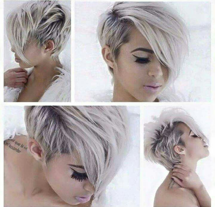 Gorgeous Pixie asymmetrical cut, dyed white/grey with lavender highlights.