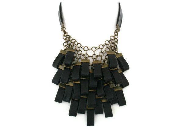 Black+Leather+Necklace+Statement+Jewellery+Leather+by+SartoJ