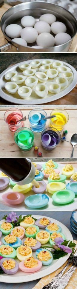 Easter Egg colors for deviled eggs! Few drops food coloring in cups of warm water. (Used the water left from boiling the eggs.) 1 Dozen eggs cold put in tap water, cover then bring to boil, turn off and let sit covered for 17min. Olive oil mayo, relish, seracha, mustard, s, mrs dash garlic & herbs, dillweed, yolks.