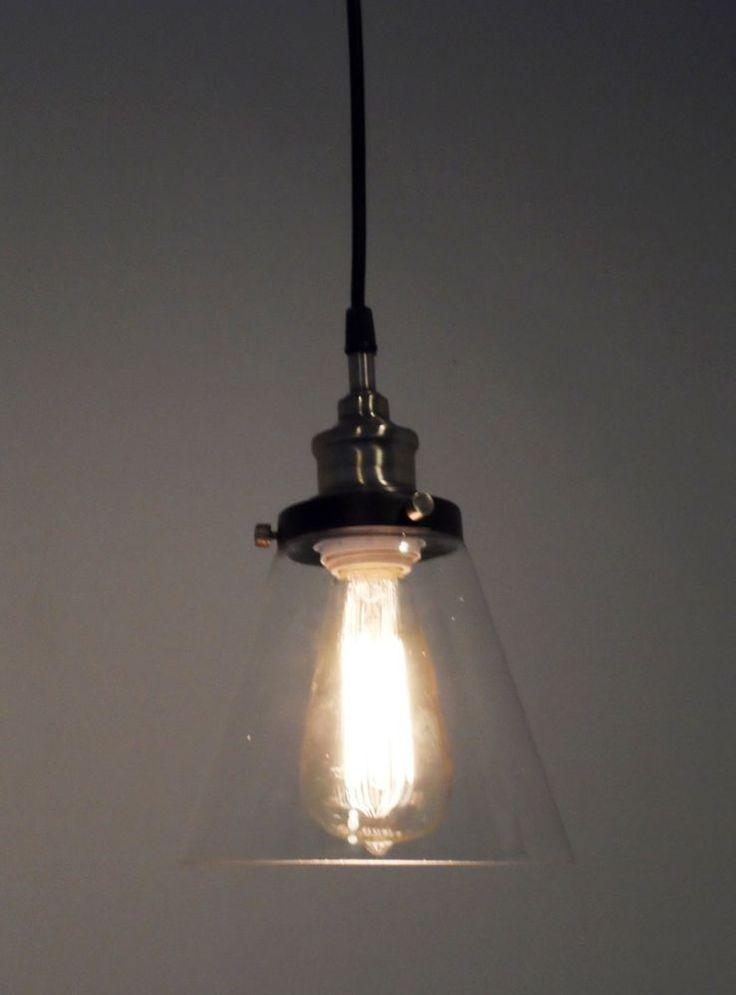 Glass Pendant Light Modern Industrial Edison Lamp Cone Bell Funnel Island