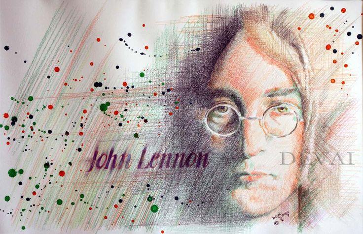 Grafik: Alex Devai Color Pencil, aquarell John Lennon
