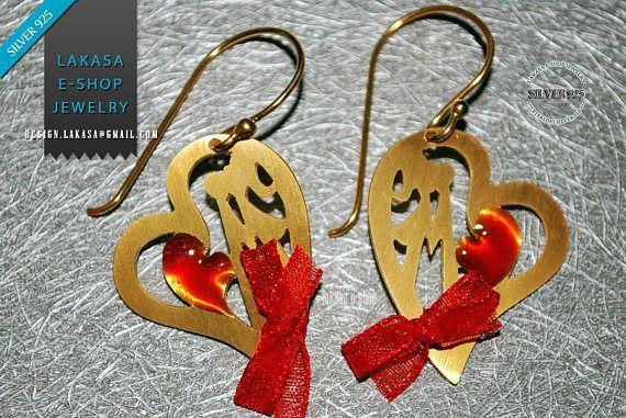Heart Earrings Red Enamel Sterling Silver 925 Handmade Jewelry #freeshipping #free #shipping #worldwide #earrings #valentine #love #pareja #enamel #heart #jewelry #sterling #silver #handmade #jewellery #gift #joyas #goldplated #red #enamel #ribbon #καρδια #κοσμημα #ασημενιο #επιχρυσο #χειροποιητο #σκουλαρικια #δωρεαν #αντικαταβολη #μεταφορικα