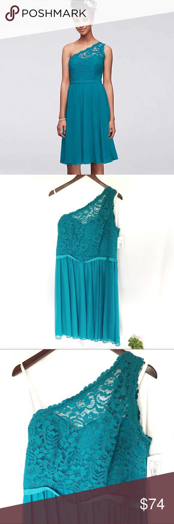 David's Bridal One Shoulder Lace Corded Dress Brand new, never worn.  Oasis color (green or emerald look) for bridesmaid, cocktail party, holiday pa...