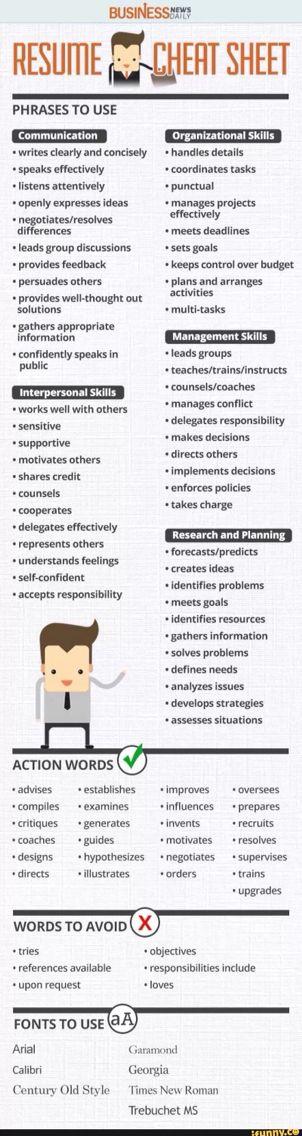 33 best job stuff images on Pinterest School, Interview and Feel - active resume words
