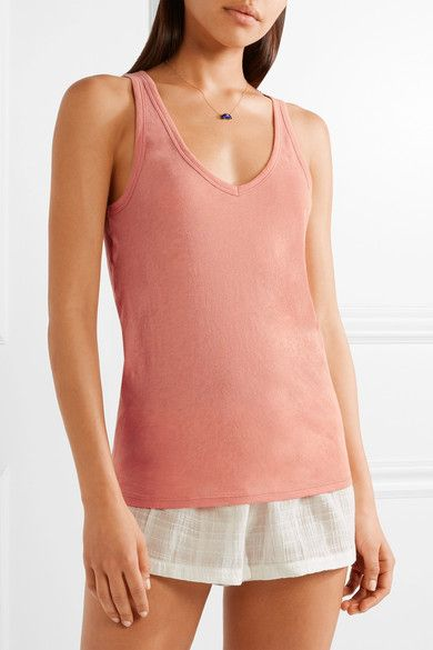 Skin - Organic Pima Cotton-jersey Pajama Top - Antique rose