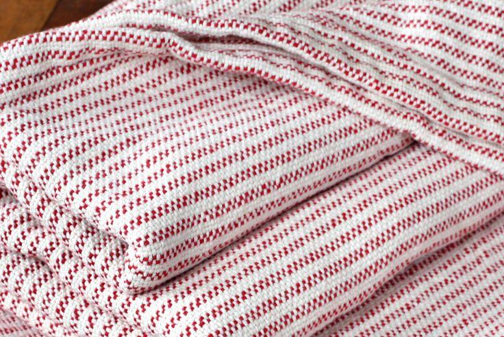 Traditional Ticking Stripe Blanket - Breton Red