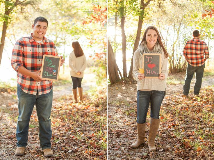 Fabulous engagement photo and proposal idea! Love the secret chalkboard signs. Click to view more from this surprise fall proposal and engagement on Chilhowee Mountain, captured by @braskajennea | The Pink Bride www.thepinkbride.com