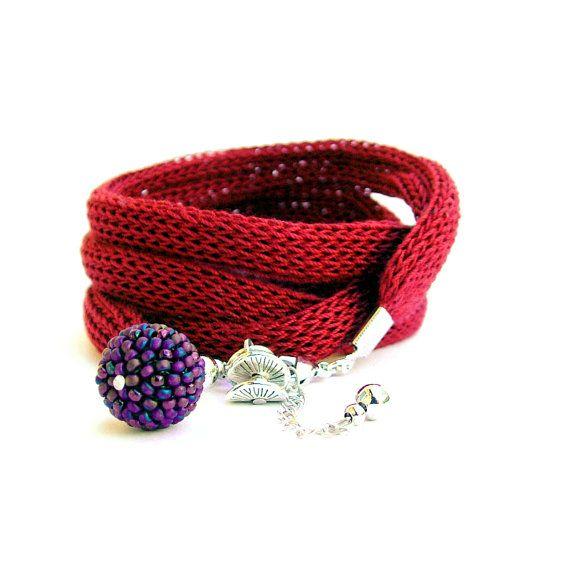 Wrap bracelet - wine red and purple wrist wrap / fabric jewelry / wrist cuff charm bracelet / beaded knit fabric bracelet / wrap bracelet