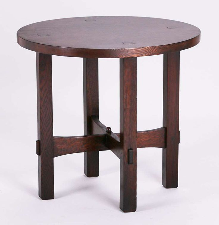 "3022. Gustav Stickley ""Eastwood"" table c1902.  Signed.  Old refinish.  22″h x 24″d $7500"