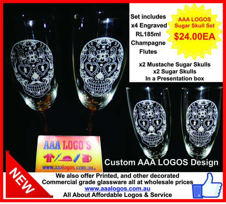 Sugar Skull Glass Set,  Beautiful Sugar Skull Engraved Glasses $24.00 a set of four glasses, Engraved onto Commercial Grade glassware, Comes in a presentation box. ( AAA LOGOS Custom sugar skull design ) ‪#‎sugarskull‬ ‪#‎skulls‬ ‪#‎engraving‬ ‪#‎engravedgifts‬ ‪#‎mustache‬ ‪#‎mustacheskull‬ ‪#‎gifts‬ www.aaalogos.com.au https://www.facebook.com/aaalogos