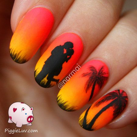Epic Summer Story: Chapter 5!!!!! #StoryNails #nailart #Piggieluv #amazingnailart #sunset #Palmtrees - bellashoot.com