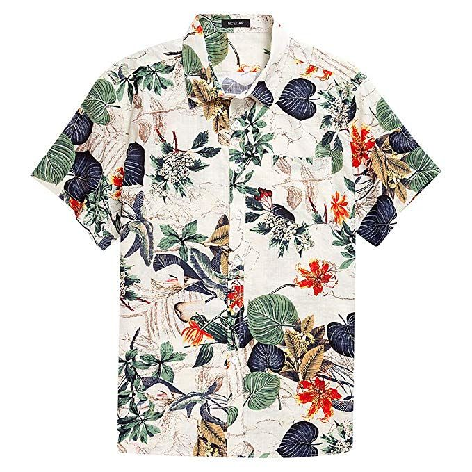 Men/'s shirt Flower Shirt Casual Short Sleeve Hawaiian Aloha Beach clothes
