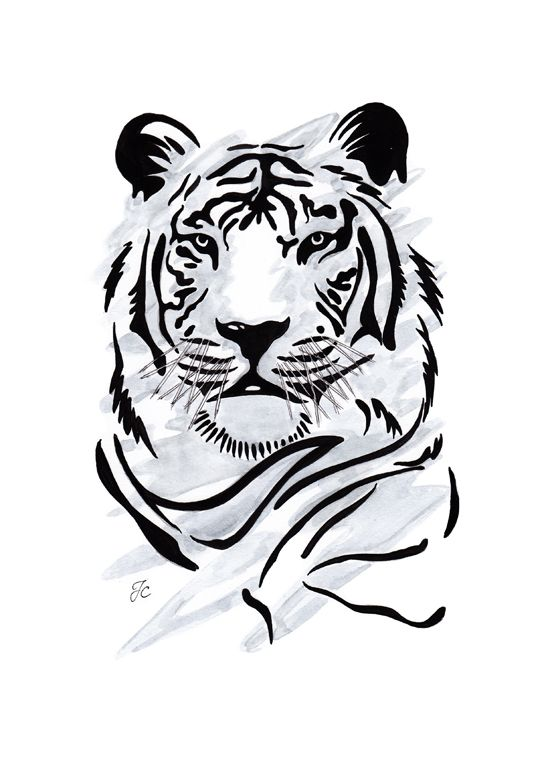 Tiger- I want my cousin to draw this so bad.