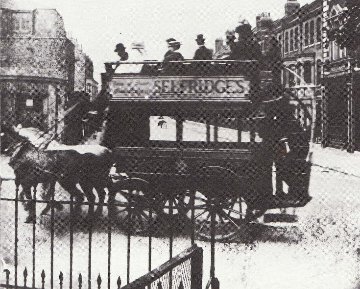 Selfridges advertisement on a bus in 1910