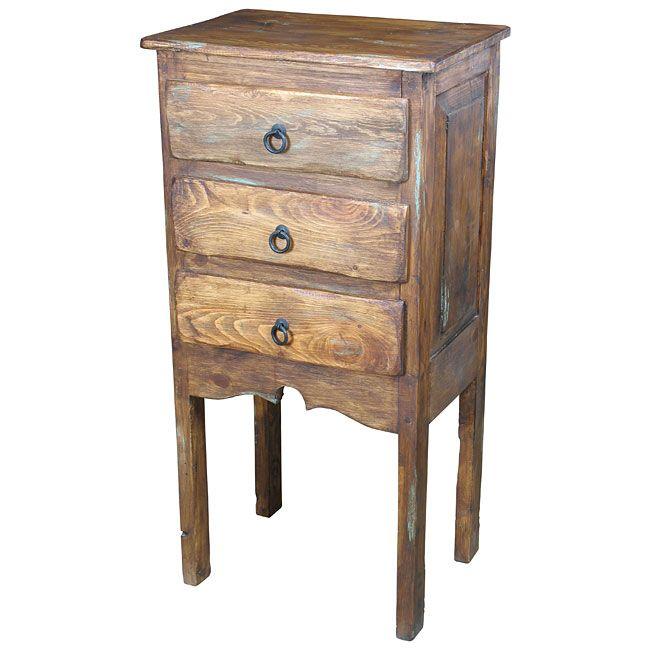 Rustic Wood Tall Nightstand - 3 Drawers
