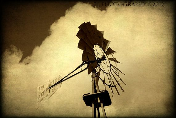 Windmill Western Rustic Fine Art Photography Texas Black and White by 3LPhotography, $25.00