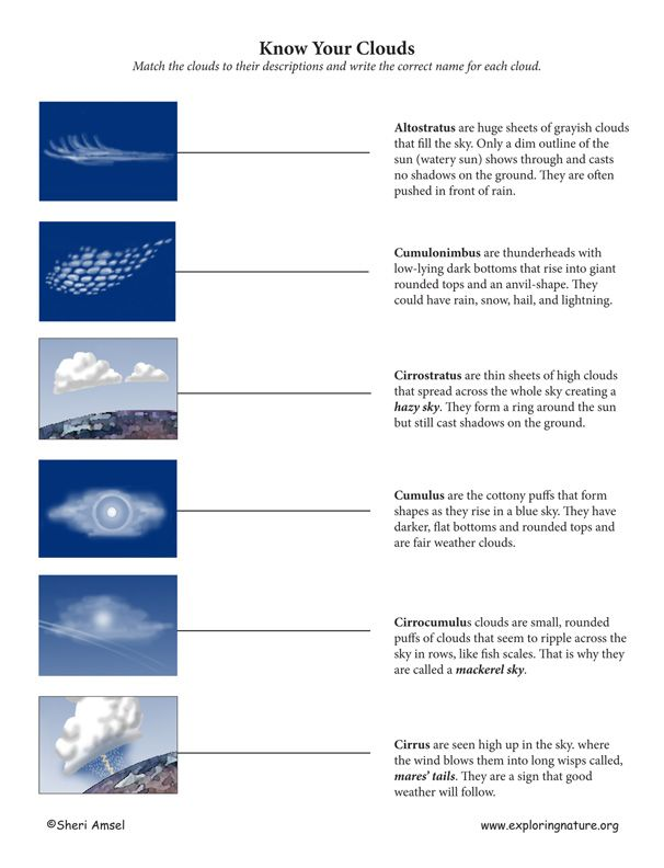 Cloud types worksheet
