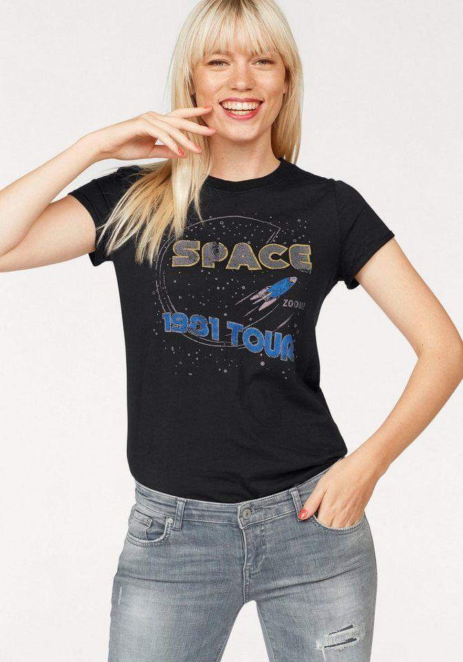 94a6ee52fa5f Tom Tailor Denim T-Shirt, mit Space-Print für 15,99€. Cooles Kurzarmshirt  von Tom Tailor Denim, Weiche Jerseyqualität aus reiner Baumwolle bei OTTO