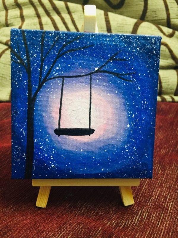 40 Idees De Peintures Miniatures Mignonnes Et Faciles A Essayer Galaxy Painting Miniature Painting Swing Painting