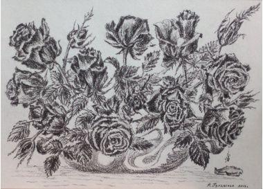 Анжелика Гулавская. Букет роз. Натюрморт графика | Купить картину у художника