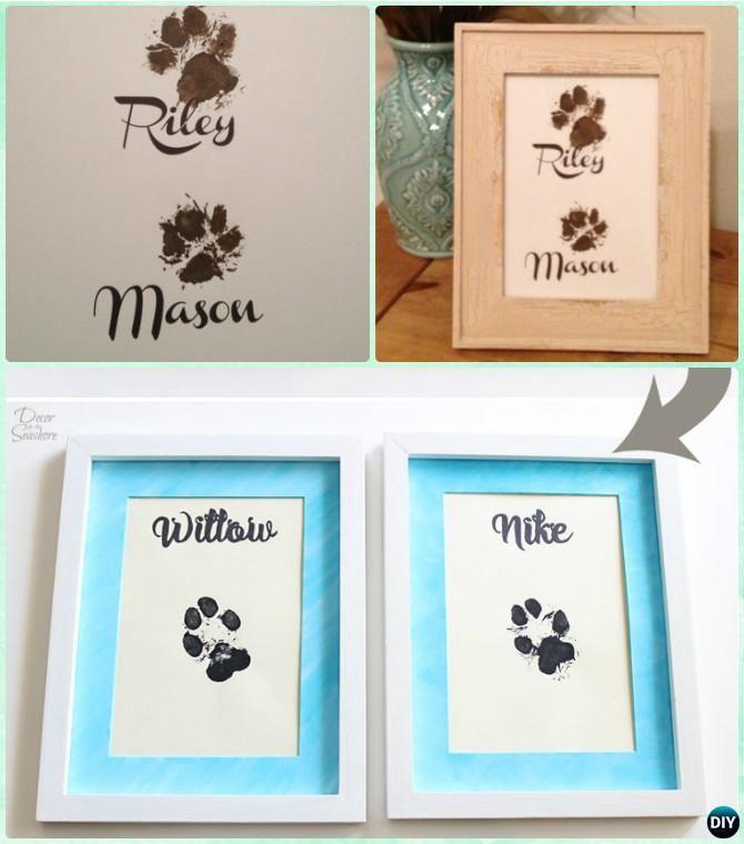 DIY Puppy Paw Print Wall Art Instruction-Paw Print #Craft Ideas Projects  #Dog