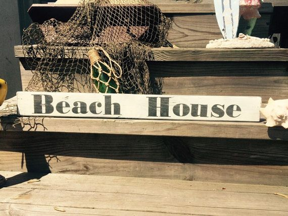 Nautical sign Beach house hand painted wooden sign by StarrEvents