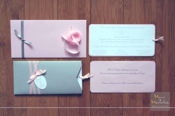 faire part pochette gris perle et rose poudr wedding. Black Bedroom Furniture Sets. Home Design Ideas