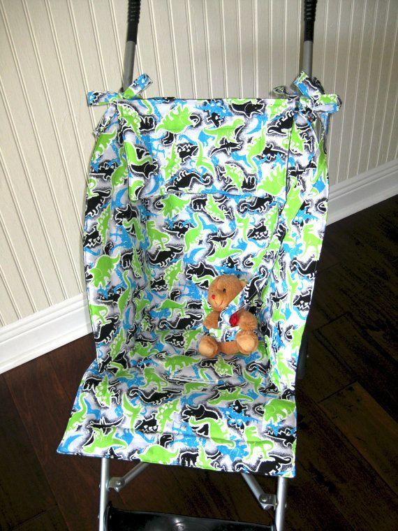 Boys Stroller Liner, Dinosaur Fabric, Universal Jogging Stroller Cover, Stroller Seat Liner, Pram Seat Cushion Cover, Baby Shower Gift
