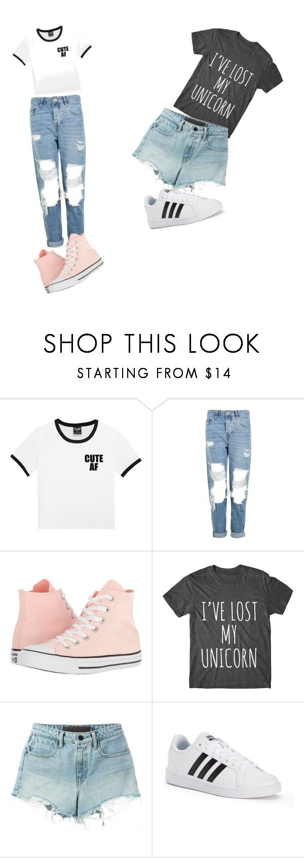 """Untitled #168"" by itsyofavbabymaci ❤ liked on Polyvore featuring Topshop, Converse, T By Alexander Wang and adidas"