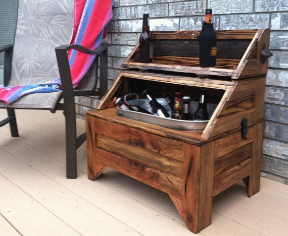 WashTub Beer Cooler-Horizontal  - Oak Barn Wood, Home and Living, Patio Furniture - MADE TO ORDER