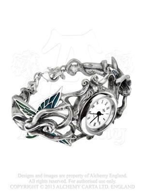 AW20 - Artemisia Watch Alluring naked fairy spirits of artemisia absinthium, the bitter wormwood plant, delicately support the foliate watch face mount. The faries wings are subtly tinted with translucent, 2-colour absinthe green-enamels. Fairy bangle-bracelet wristwatch, with enamelled wings and 25mm dia. quartz crystal movement.  A feminine piece of playful romantic elegance.