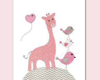 Ilustración de jirafa de la guardería niña niño bebé vivero bebé habitación aves corazón de regalo rosa de nacimiento bola gris rosa
