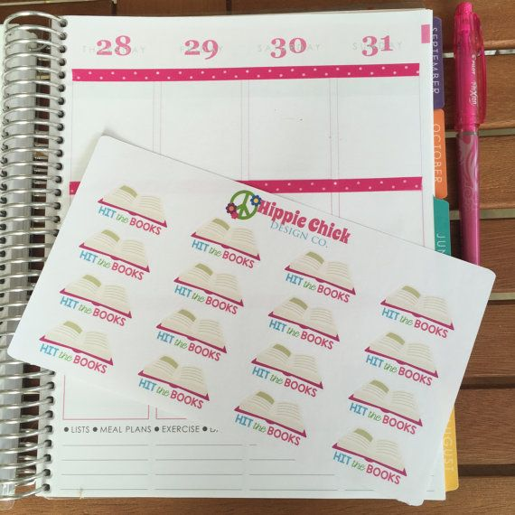 """These adorable """"Hit The Books"""" stickers make for a great way to mark study times, library days, reading assignments, and more in your planner!  Choose from a half-sheet (16 stickers) or a full-sheet (35 stickers.) Stickers are kiss-cut and ready to use in your Erin Condren, Filofax, Kikki K, Plum Paper, etc.  ::: CHOOSE YOUR SIZE ::: HALF-SHEET: Includes 16 stickers. Each sheet is approximately 7"""" wide x 4"""" long. FULL SHEET: Includes 35 stickers. Each sheet is approximately 7"""" wide x 8""""…"""