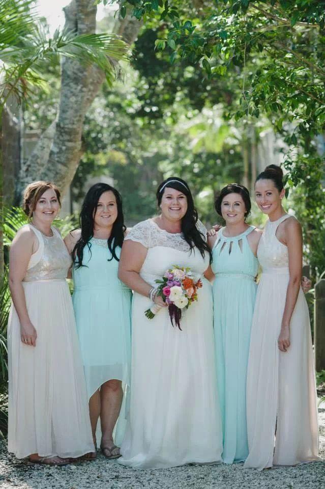 Aqua and blush pink bridesmaids. Dresses by Seduce and Forever New. Custom made wedding dress, beach wedding Broken head Byron Bay, NSW AUS. David Moore Photography.