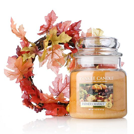 Yankee Candle Farmers Market Medium Jar with Decorative Wreath order online at QVCUK.com
