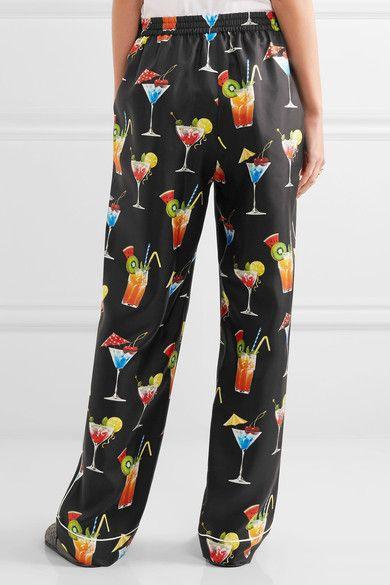 Dolce & Gabbana - Printed Silk-twill Pants - Black - IT42