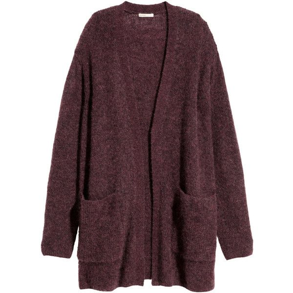 H&M Cardigan in a mohair blend ($75) ❤ liked on Polyvore featuring tops, cardigans, hm, jackets, sweaters, burgundy marl, h&m, burgundy top, oversized cardigan and long sleeve tops