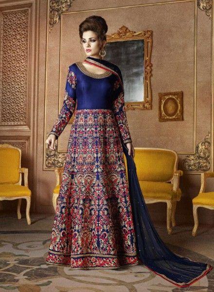 Blue wedding wear Anarkali churidar suit in silk G17378