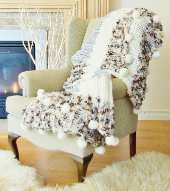 White Grey Beige Neutral knitted knit Blanket Throw Afghan