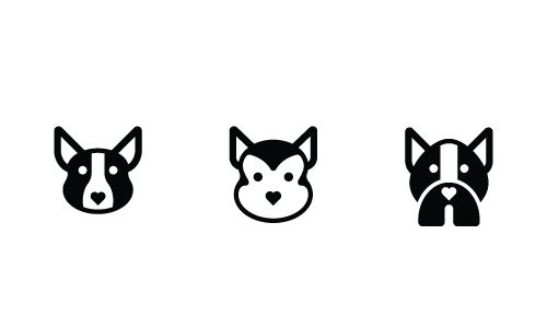 Three dog icons in glyph style showing common design elements