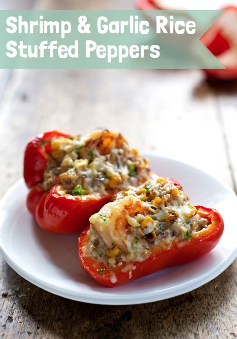Shrimp and Garlic Rice Stuffed Peppers