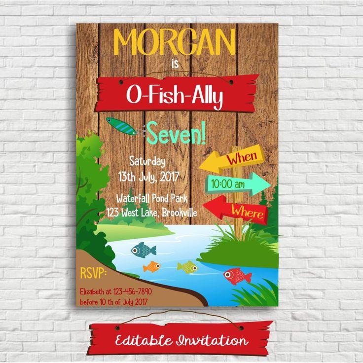 Fishing Invitation - Fishing Invite - Gone Fishing Party - Gone Fishing Invitation - O Fish Ally One - Instant Download - Editable File