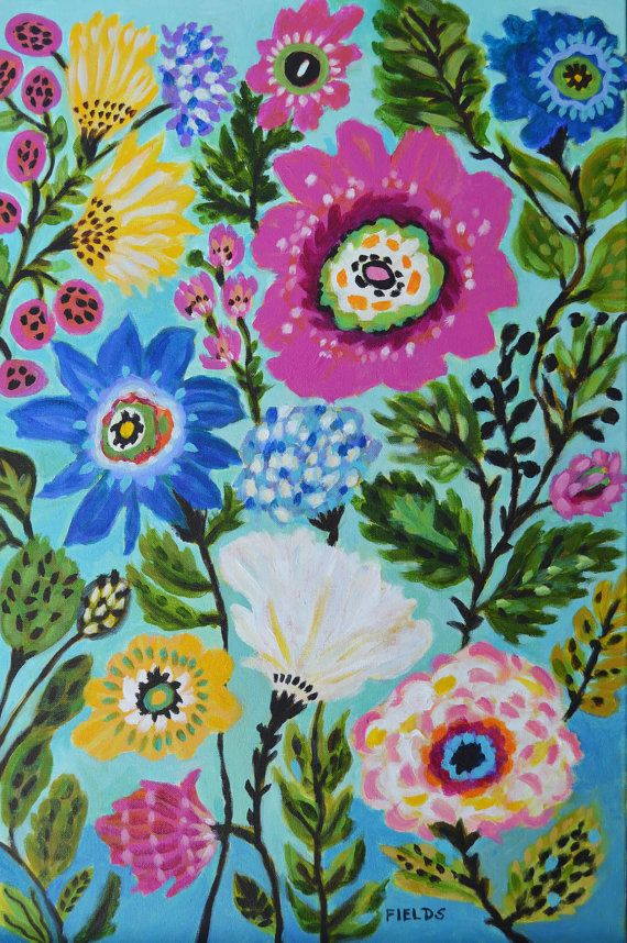 Original Flowers Painting by Karen Fields by karenfieldsgallery