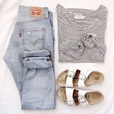 striped tee + boyfriend jeans I HATE Birkenstocks though, so I'd choose I different shoe.