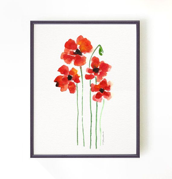 Red poppy watercolor painting, Floral painting, Red summer flower, Botanical print, Home decor, Wall decor 8x10 print, Buy 2 Get 1 FREE