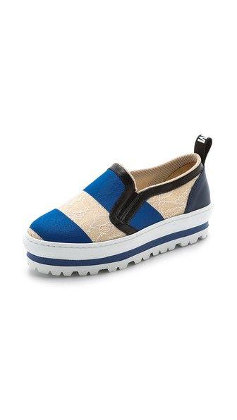 MSGM Stripe Slip On Sneakers