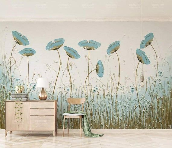 3d Floral Watercolor Blue Flowers Self Adhesive Removable Etsy Mural Wallpaper Wall Murals Wall Design